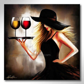 Leanne Laine Fine Art original artist painting of blonde sexy woman in black hat carrying tray of red and white wine