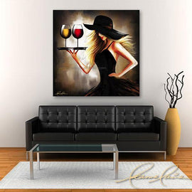 Leanne Laine Fine Art original artist painting displayed above couch of blonde sexy woman in black hat carrying tray of red and white wine