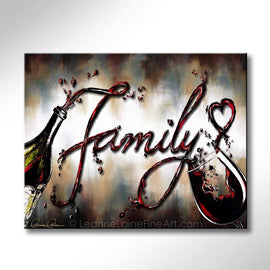 Leanne Laine Fine Art original artist painting of red wine pouring from bottle to glass spelling family with a heart