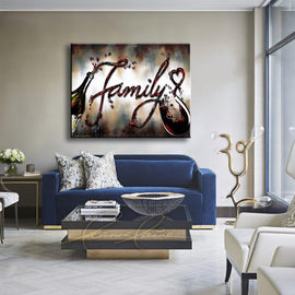Leanne Laine Fine Art original artist painting displayed above couch of red wine pouring from bottle to glass spelling family with a heart