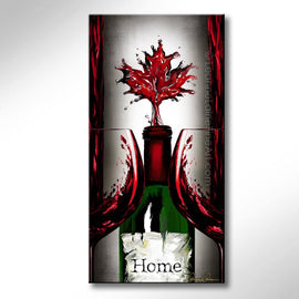 Leanne Laine Fine Art original artist painting of Canada Canadian maple leaf in bottle between two glass pouring red splashing wine
