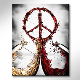Leanne Laine Fine Art original artist painting of red and white wine splashing out of glasses forming a peace symbol sign