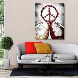 Leanne Laine Fine Art original artist painting displayed above couch of red and white wine splashing out of glasses forming a peace symbol sign