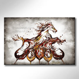 Leanne Laine Fine Art original artist painting of red and white wine splashing out of five glasses into equestrian horse running