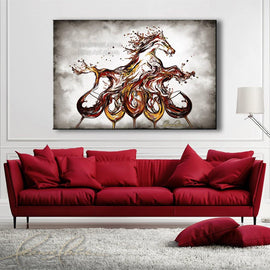 Leanne Laine Fine Art original artist painting displayed above couch of red and white wine splashing out of five glasses into equestrian horse running