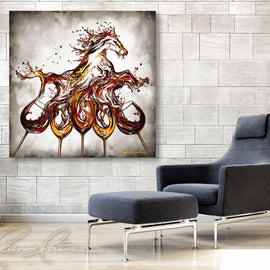 Leanne Laine Fine Art original artist painting displayed above chair of red and white wine splashing out of five glasses into equestrian horse running