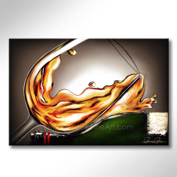 Leanne Laine Fine Art original artist painting of white wine resting on bottle splashing romantically