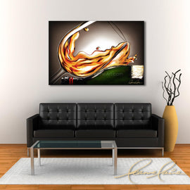 Leanne Laine Fine Art original artist painting displayed above couch of white wine resting on bottle splashing romantically