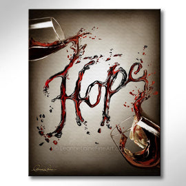 Leanne Laine Fine Art original artist painting of two glasses spelling written word Hope in red and white wine