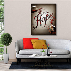 Leanne Laine Fine Art original artist painting displayed above couch of two glasses spelling written word Hope in red and white wine