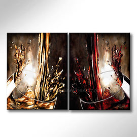 Leanne Laine Fine Art original artist painting of two glasses splashing and pouring red and white wine