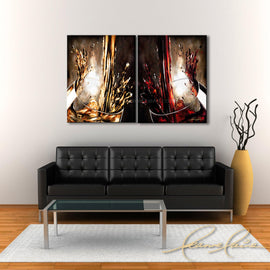Leanne Laine Fine Art original artist painting displayed above couch of two glasses splashing and pouring red and white wine