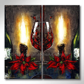 Leanne Laine Fine Art original artist painting of Christmas holiday two green bottles poinsettias and candles burning beside romantic red wine glass