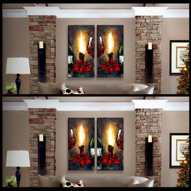 Leanne Laine Fine Art original artist painting displayed above couch of Christmas holiday two green bottles poinsettias and candles burning beside romantic red wine glass