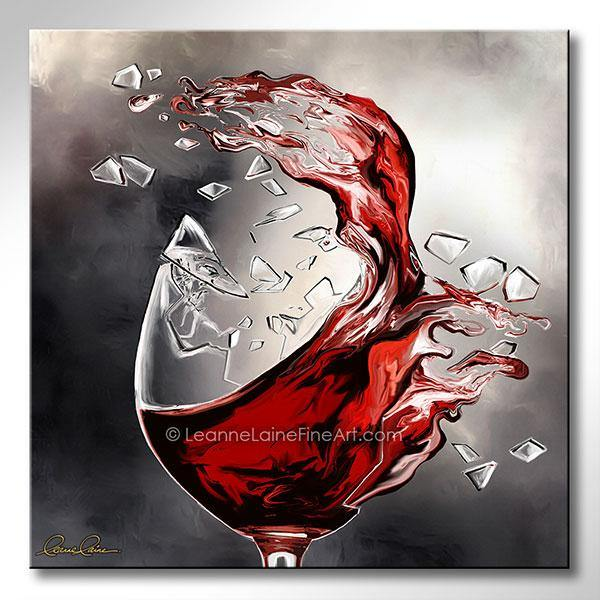 Leanne Laine Fine Art original artist painting of red wine splashing out of broken shattered glass