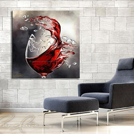 Leanne Laine Fine Art original artist painting displayed above blue chair of red wine splashing out of broken shattered glass