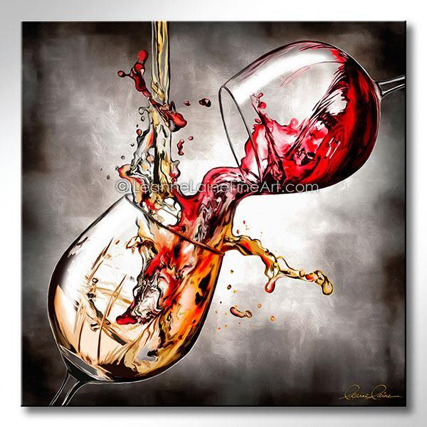 Leanne Laine Fine Art original artist painting of red and white wine pouring and splashing between two glasses