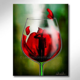 Leanne Laine Fine Art original artist painting of soldier saluting in red wine with poppy for memorial and remembrance day