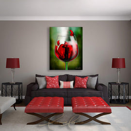 Leanne Laine Fine Art original artist painting displayed above couch of soldier saluting in red wine with poppy for memorial and remembrance day
