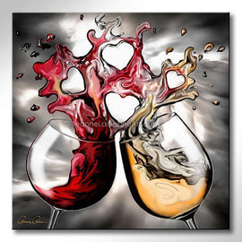 Leanne Laine Fine Art original artist painting of red and white wine glasses pouring and splashing together forming hearts of love