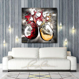 Leanne Laine Fine Art original artist painting displayed above couch of red and white wine glasses pouring and splashing together forming hearts of love