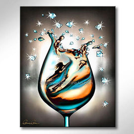 Leanne Laine Fine Art original artist painting of woman in teal turquoise gold wine climbing in a wine glass with sparkles and diamonds