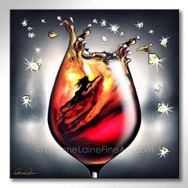 Leanne Laine Fine Art painting of swimming woman in wine motivated to crush it igniting fire within.