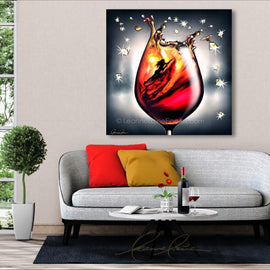 Leanne Laine Fine Art painting displayed above couch of swimming woman in wine motivated to crush it igniting fire within.