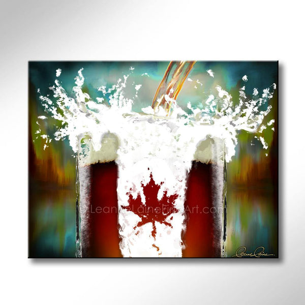 Leanne Laine Fine Art original artist painting of beer pouring splashing into glass frosty mug with Canada flag and Canadian leaf