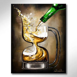 Leanne Laine Fine Art original artist painting of frosty cold beer splashing pouring into hour glass shaped glass mug
