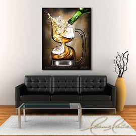Leanne Laine Fine Art original artist painting displayed above couch of frosty cold beer splashing pouring into hour glass shaped glass mug