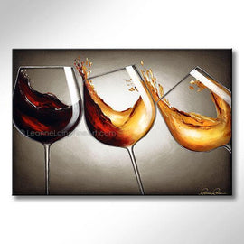 Leanne Laine Fine Art original artist painting of red and white wine pouring and splashing in three falling glasses