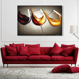 Leanne Laine Fine Art original artist painting displayed above couch of red and white wine pouring and splashing in three falling glasses