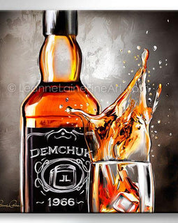 Leanne Laine Fine Art painting of bourbon whiskey bottle beside splashing whisky glass