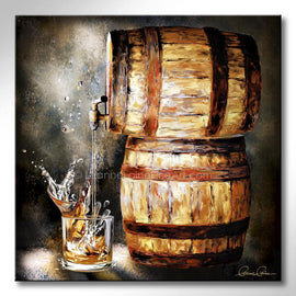 Leanne Laine fine art painting of bourbon wiskey barrel pouring splashing whisky into glass