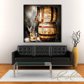 Leanne Laine fine art painting displayed above couch of bourbon wiskey barrel pouring splashing whisky into glass