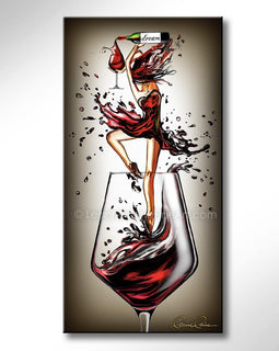 Leanne Laine Fine Art painting of ballerina dancing ballet pouring red wine from bottle in wine glass
