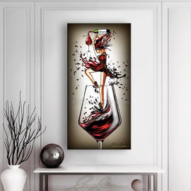 Leanne Laine Fine Art painting displayed above table and vase of ballerina dancing ballet pouring red wine from bottle in wine glass