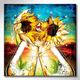 Leanne Laine Fine Art original artist painting of two sunflowers and champagne glasses splashing with sunset