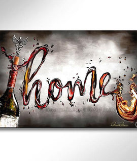 Leanne Laine Fine Art original artist painting of bottle and glass spelling written word Home in red and white wine with cork and medical symbol corkscrew