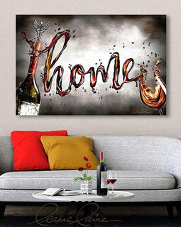 Leanne Laine Fine Art original artist painting displayed above couch of bottle and glass spelling written word Home in red and white wine with cork and medical symbol corkscrew