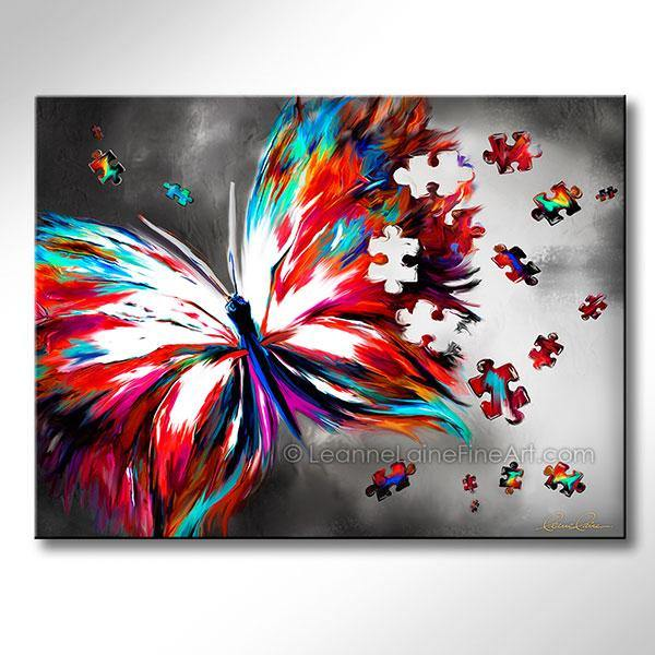 Leanne Laine Fine Art original artist painting of beautiful turquoise spring butterfly flying with puzzle pieces for autism awareness