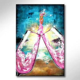 Leanne Laine Fine Art original artist painting of sexy woman in wine champagne glasses with pink hair and sparkles against blue sky