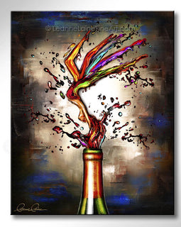 Leanne Laine Fine Art painting of sexy woman flower pouring out of wine bottle in red blue purple and yellow petals