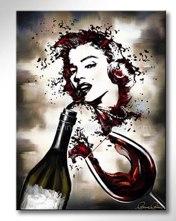 Leanne Laine Fine Art original artist painting of red wine splashing from two glasses into Marilyn Monroe classic pose