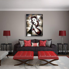 Leanne Laine Fine Art original artist painting displayed above couch of red wine splashing from two glasses into Marilyn Monroe classic pose