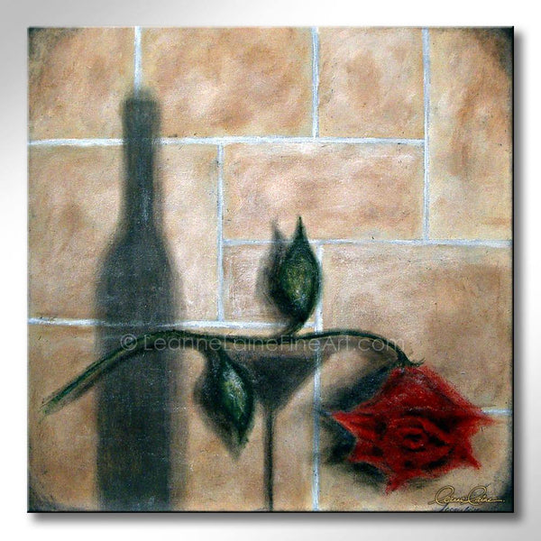 Leanne Laine Fine Art original artist painting of red rose with wine bottle and glass in shadows on wall