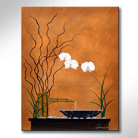 Leanne Laine Fine Art original artist painting of zen peaceful fountain with white flower lillies and grass