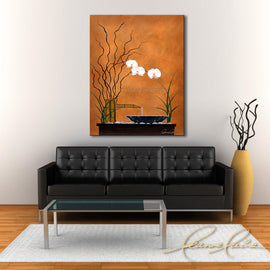 Leanne Laine Fine Art original artist painting displayed above couch of zen peaceful fountain with white flower lillies and grass