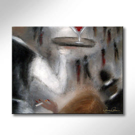 Leanne Laine Fine Art original artist painting of waiter serving at nightclub with crowd